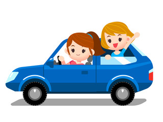 Vector set of people, woman driving car with company, kid, children in back seat.