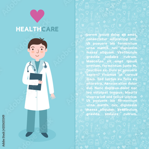 vector medical brochure template with doctor stethoscope medic