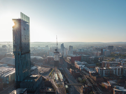 Manchester City Centre Drone Aerial View Above Building Work Skyline Construction Blue Sky Summer