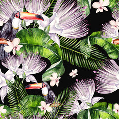 Beautiful watercolor seamless, tropical jungle floral pattern background with palm leaves, flower of roses, capers and  bird tukan.