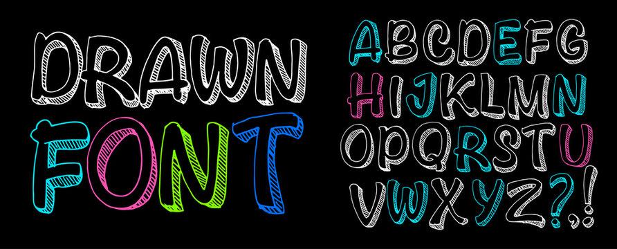 Free drawn font. Chalk board lettering.