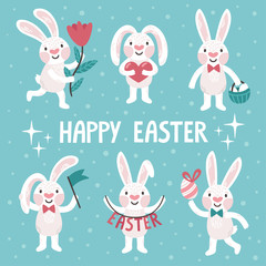 "Set of six cute Easter rabbits. Vector collection of smiling bunny with text ""Happy Easter"". Holiday background."