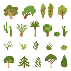 Vector set of different trees and grass. Hand drawing collection of simple nature elements. Isolated on white.