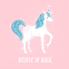 "Vector motivation card with unicorn, stars, and text ""Believe in magic"". Sweet fantasy background with inspirational words."