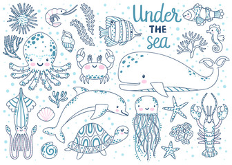 Kids coloring page. Vector set of underwater animals: octopus, whale, turtle, dolpin, jellyfish, crab, lobster, seahorse, squid, clownfish, butterflyfish, seaplants and corals. Coloring book page.