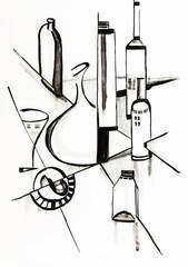 Black and white stiil life in modern stile