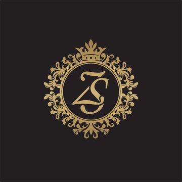 Initial letter ZS, overlapping monogram logo, decorative ornament badge, elegant luxury golden color