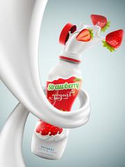 Yogurt bottle ads with strawberry flavor in milk swirl, commercial vector yogurt beverage mock-up hyperrealistic illustration