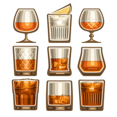 Vector set of different glassware, 9 half full glass cups with amber liquid, collection icons of alcohol drinks whiskey or whisky (neat and with ice cubes) various shape, isolated on white background.