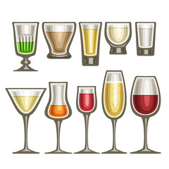 Vector set of different glassware, 10 half full glass cups with colorful spirit beverages various shape, collection icons of alcohol drinks red and white wine, hard liquor isolated on white background