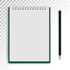 Photorealistic vector notebook with pencil on white transparent background.