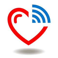 Heart with Wi Fi Icon Vector. Wireless Robortic Automated Communication Monitoring Modern Cardiological Technology Illustration. Smart Health Care Cardiology Logo Symbol.