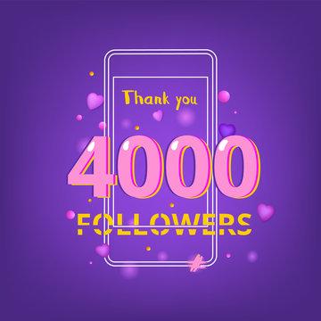 4000 Followers thank you banner. Vector illustration.