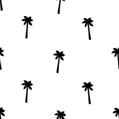 Seamless pattern with black palm trees.