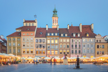 Beautiful old Town of Warsaw at Dusk