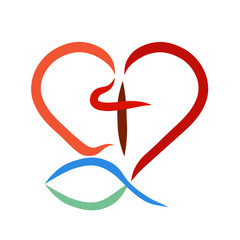 Heart, cross and fish, Christian symbols