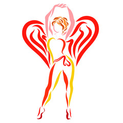 Slim sports lady with wings in the shape of heart