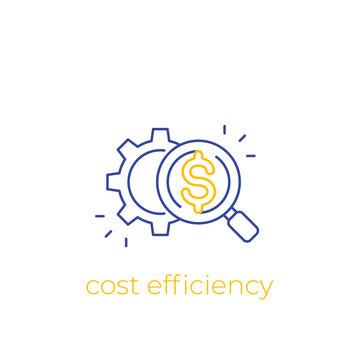 cost efficiency, vector linear icon