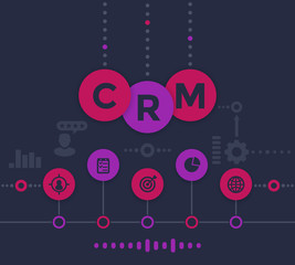 CRM, customer relationship management infographics, vector illustration, dark version