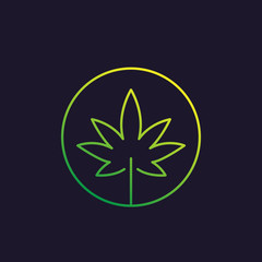 Marijuana leaf, cannabis vector linear icon
