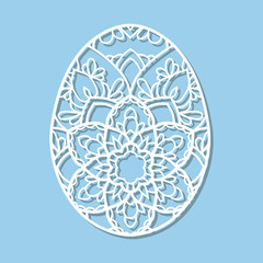 Laser cutting flower pattern for decorative easter egg. Lace vector template ready for printing, postcards, packets, wedding invitation, engraving, paper, wood, metal.