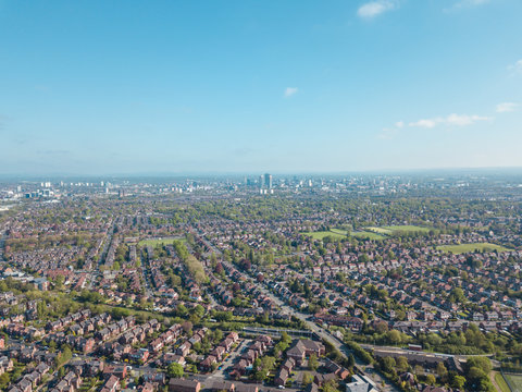 Ariel drone view houses in Manchester England Residential