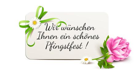 Grußkarte mit Pfingstrose und Schleife - Wir wünschen Ihnen ein schönes Pfingstfest!