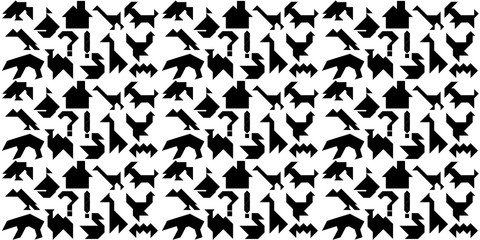 Background with black silhouettes for puzzle tangrams