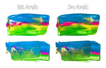 Vector purple, blue, green paint smear stroke stain set. Abstract acrylic textured art illustration. Acrilyc Texture Paint Stain Illustration. Hand drawn brush strokes vector elements. Acrilyc strokes