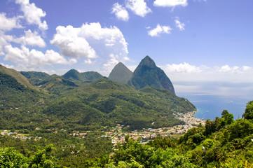 Beautiful above view of tropical landscape and sea, Santa Lucia island, Caribbean
