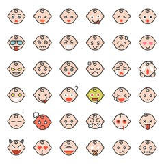 Baby emoticon filled outline icon set 1