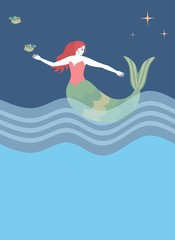 Beautiful mermaid is floating in sea in night and birds are flying in starry sky. Vector illustration.