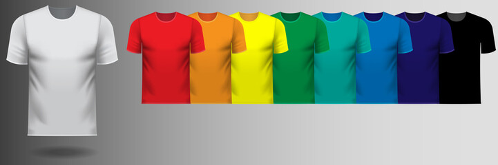 Series of rainbow color v-neck tee shirts