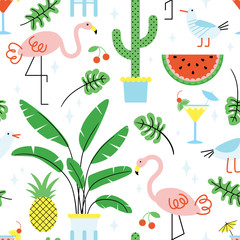 Seamless summer tropical pattern with cute flamingos and plants on white background