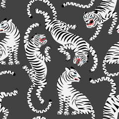 Seamless pattern with white tigers on dark background