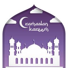 ramadan kareem greeting card background design, mosque and moon, purple color