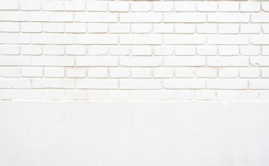 Grunge white two section brick wall texture background,outdoor wall.