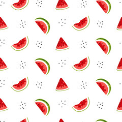 Bright seamless pattern with watermelon slices and seeds. Vector background. Colorful summer print for wallpaper, backdrop, fabric, etc.