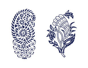 Set of 2 wood block printed paisley floral elements. Traditional oriental ethnic motifs of India, monochrome. For your design.
