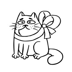 Cat with a bow-knot sitting angry. Vector illustration