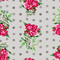 Seamless pattern of roses and dots painted in watercolor.