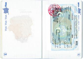 Visa of Algeria in a French passport