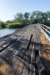 Historic Chinamans Bridge over the Goulburn River near Nagambie in Australia.