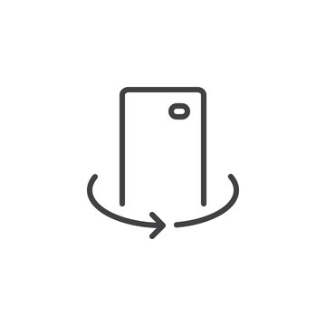 Mobile camera rotate outline icon. linear style sign for mobile concept and web design. Cell Phone 360 degrees simple line vector icon. Symbol, logo illustration. Pixel perfect vector graphics