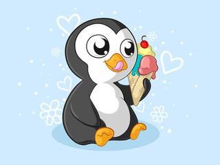 Sommer Comic Pinguin