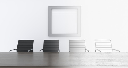 3d rendering of office with chars and empty table with empty poster on wall