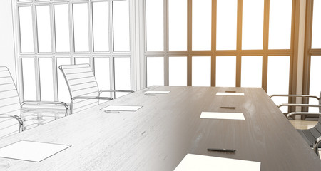 3d render of meerting office with chairs and wooden table with big windows