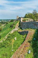 Belgrade, Serbia April 24, 2018: View from the Kalemegdan Fortress on the Danube River and park