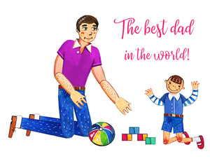 Father's day hand drawn watercolor illustration with father playing with son. Isolated on white background. Best dad in the world greeting