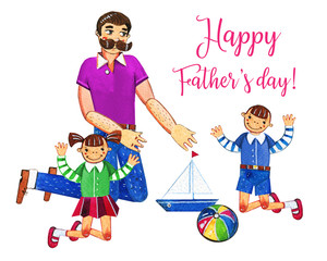 Father's day hand drawn watercolor illustration with father and two kids playing with toys. Isolated on white background